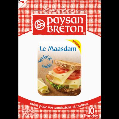 Maasdam au lait pasteurisé PAYSAN BRETON, 27% de MG, 10 tranchettes, 160g