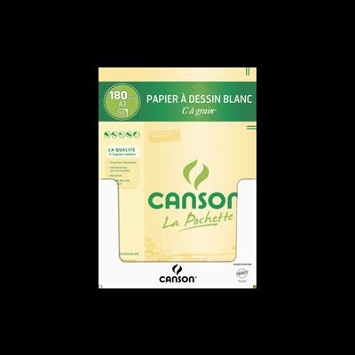Papier à dessin CANSON, grain 180g/m2, 29,7x42cm, pochette de 10 feuilles