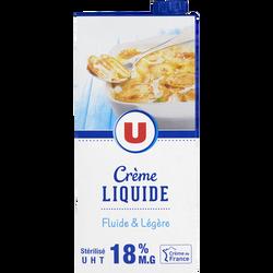 Crème UHT liquide U 18% de MG, brique de 1l