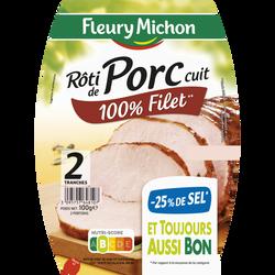 Rôti de porc cuit -25% de sel FLEURY MICHON 2 tranches 100g