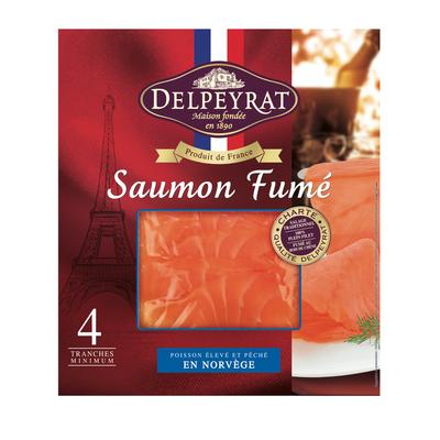 Saumon fumé de Norvège DELPEYRAT, 4 tranches, 130g
