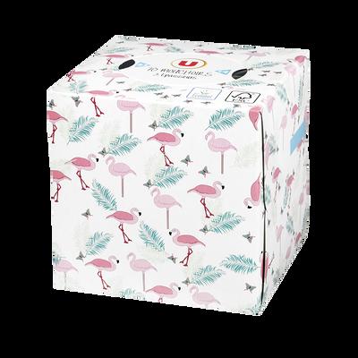 Mouchoirs blanc 3 plis boite cubique décorée U, x70