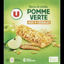 Barres de céréales pomme verte U, boîte contenant 6 barres de 125g