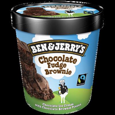 Crème glacée parfum Chocolat Fudge Brownie BEN&JERRY'S, pot de 415g