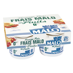 Fromage frais aux fruits MALO, 0% de MG, 4x100g