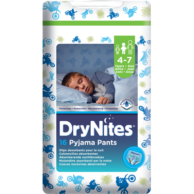 Couches culottes Dry Nites boys HUGGIES, x16, 17 à 30kg (4 - 7 ans)