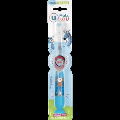 Brosse à dents clignotante pour enfant 3 à 6 ans U MAT ET LOU