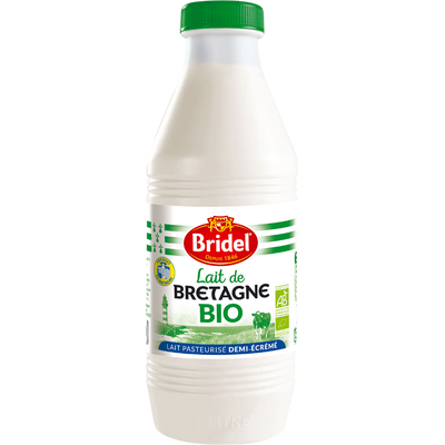 Lait demi-écrémé pasteurisé bio BRIDEL, 1l