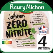 Fleury Michon Jambon Découenné De Qualité Supérieur Cuit Zéro Nitrite Fleury Michon,4 Tranches Soit 120g