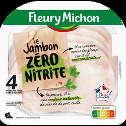 Jambon découenné de qualité supérieur cuit zéro nitrite FLEURY MICHON,4 tranches soit 120g