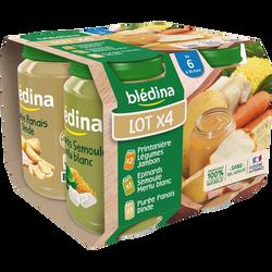 Pots salés printenière de légumes jambon x2, épinards semoule merlu x1, panais de dinde x1, dès 6 mois BLEDINA, 4x200g