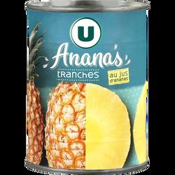 Ananas tranches entières pur jus U,  boîte de 10 soit  340g