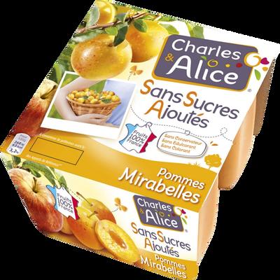 Spécialité fruit pomme mirabelle sans sucre ajouté CHARLES & ALICE, 4x97g