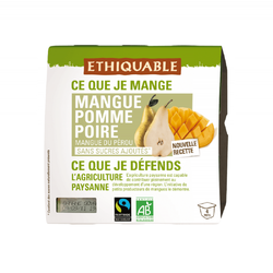 Purée mangue pomme poire Pérou BIO ETHIQUABLE 4x100g