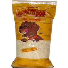 Riz soufflé pour chien, sac de 1 kg