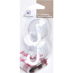 Crochet ventouse repositionnable U, pack de 2