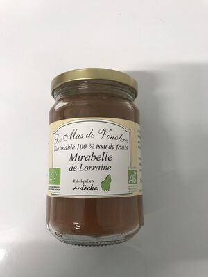 Tartinable 100% issu de fruits mirabelle de lorraine bio 320g Mas De Vinobre