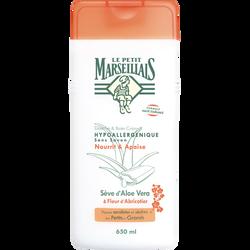 Douche & bain crème peaux sensibles aloé fleur abricotier LE PETIT MARSE ILLAIS, flacon de 650ml