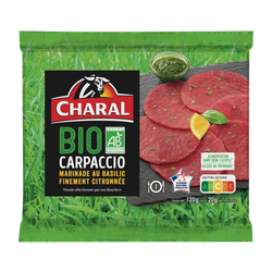 Carpaccio boeuf, BIO, CHARAL, France, 1 pièce, Barquette 120g