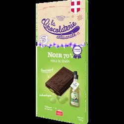 Tablette chocolat noir 70% perles de genepi LA CHOCOLATERIE ARTISANALE, 100g