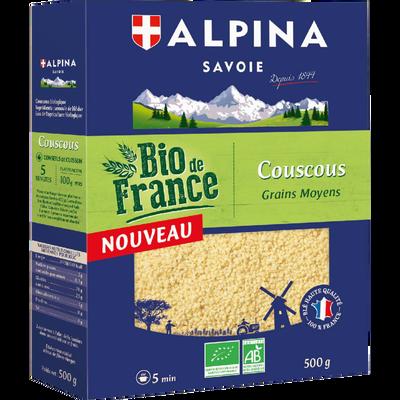 Couscous grains moyens bio de France ALPINA Savoie, paquet de 500g