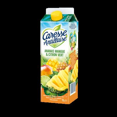 Nectar pasteurisé ananas mangue et citron vert CARESSE ANTILLAISE, brique de 1l