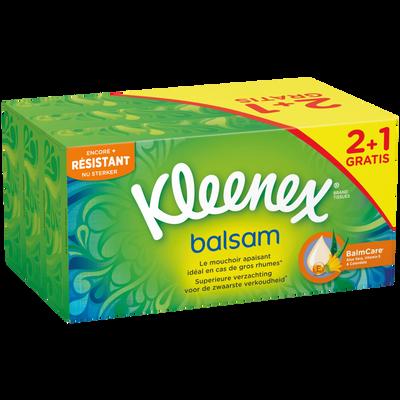 Mouchoirs balsam KLEENEX, 2 boîtes de 72 + 1 offerte