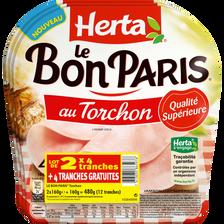 Herta Jambon Le Bon Paris Torchon  4 Tranches Lot De 2 + 1 Gratuit Soit480g