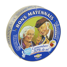 Camembert à teneur réduite en sel BONS MAYENNAIS, 23%MG, 250g
