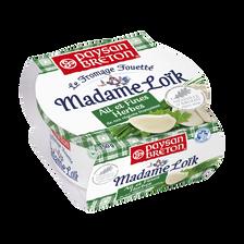 Fromage pasteurisé fouetté Madame Loik ail et fines herbes PAYSAN BRETON, 23% de MG, barquette de 150g