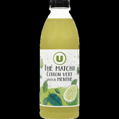 Boisson réfrigéré au thé matcha et au citron saveur menthe U, bouteille de 1l