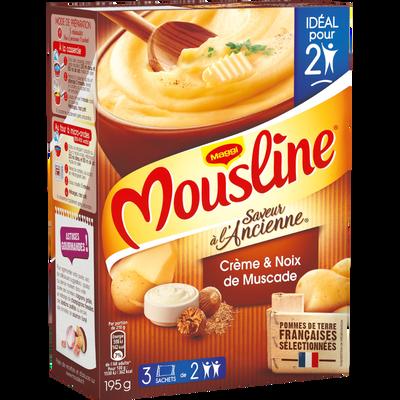 Purée de pomme de terre en flocons crème et noix de muscade MOUSLINE,3x65g, 195g