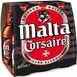 Boisson maltée sans alcool, MALTA CORSAIRE, pack de 6x33cl