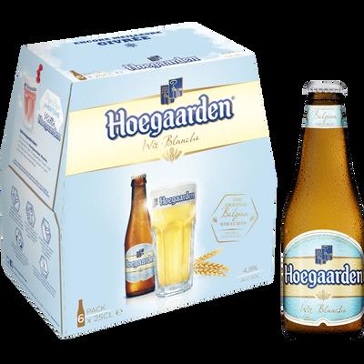Bière blanche HOEGAARDEN, 4,9°, 6 bouteilles en verre de 25cl
