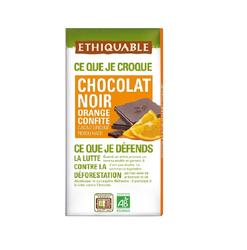 CHOCOLAT NOIR ORANGE CONFITE TABLETTE BIO 100 G
