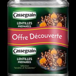 Lentille cuisinées oignons et carottes CASSEGRAIN, 2 boîtes de 265g