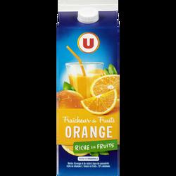 Jus fraîcheur de fruits orange riche en fruits U, 2l