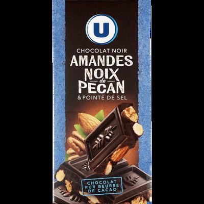 Tablette de chocolat noir amandes entières et noix de pécan caramélisées U, 200g