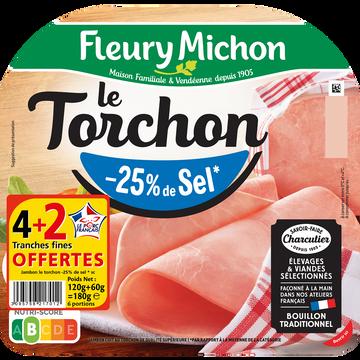 Fleury Michon Jambon Cuit Torchon Supérieur Sans Couenne -25%sel Bbc, 4+2 Offert Soit 180g
