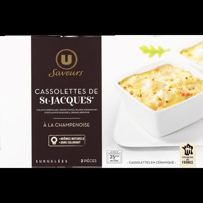 Cassolettes Saint-Jacques sauce à la champenoise U SAVEURS, 2x120g