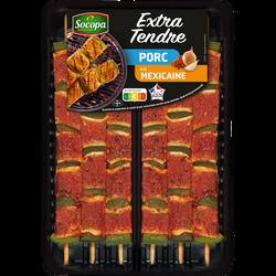 Brochette extra tendre porc à la mexicaine, Socopa, France, 6 pièces,barquette, 510g