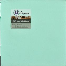 Serviettes U MAISON,  tex touch, aqua, 33x32cm, 30 unités