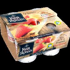 Yaourt brassé aux fraises de Plougastel KER RONAN, 4x125g