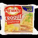 Président Fromage Fondu Au Lait Pasteurisé Croque'emmental, 18%mg, ,12 Tranchettes, 200g