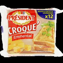 Fromage fondu au lait pasteurisé Croque'Emmental 18% de matière grassePRESIDENT, x12 soit 200g