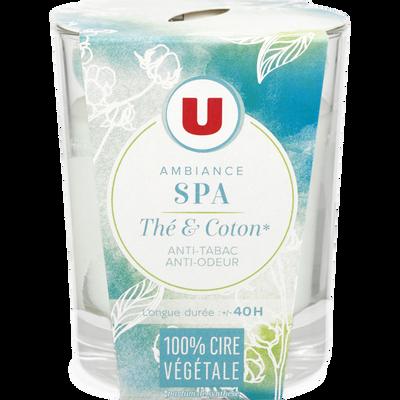Bougie végétale ambiance SPA parfum thé et coton U, pot de 150g