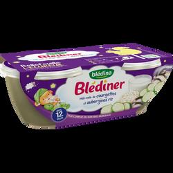 Bols pour bébé méli-mélo de courgettes, aubergines et riz BLEDINER, dès 12 mois, 2x200g