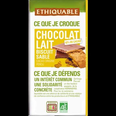 Tablette de chocolat au lait 42% biscuit salé Bio ETHIQUABLE, 100g