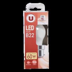 Led U, Mini, ronde, 60w, b22, opaque, lumière chaude