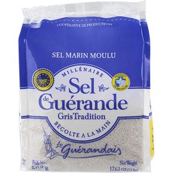 Sel de Guérande moulu LE GUERANDAIS, sachet de 500g